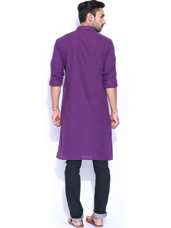 Myntra fabindia purple fitted hand embroidered kurta