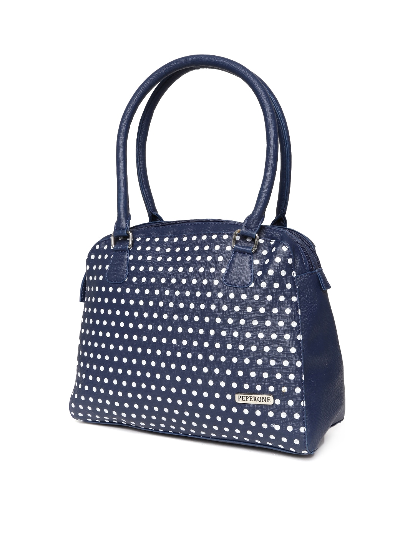 Myntra Peperone Navy Amp White Polka Dot Print Shoulder Bag