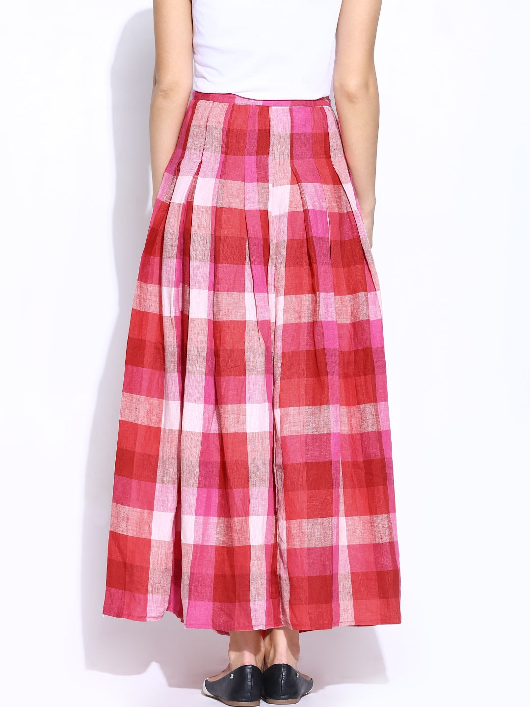 myntra united colors of benetton pink checked linen