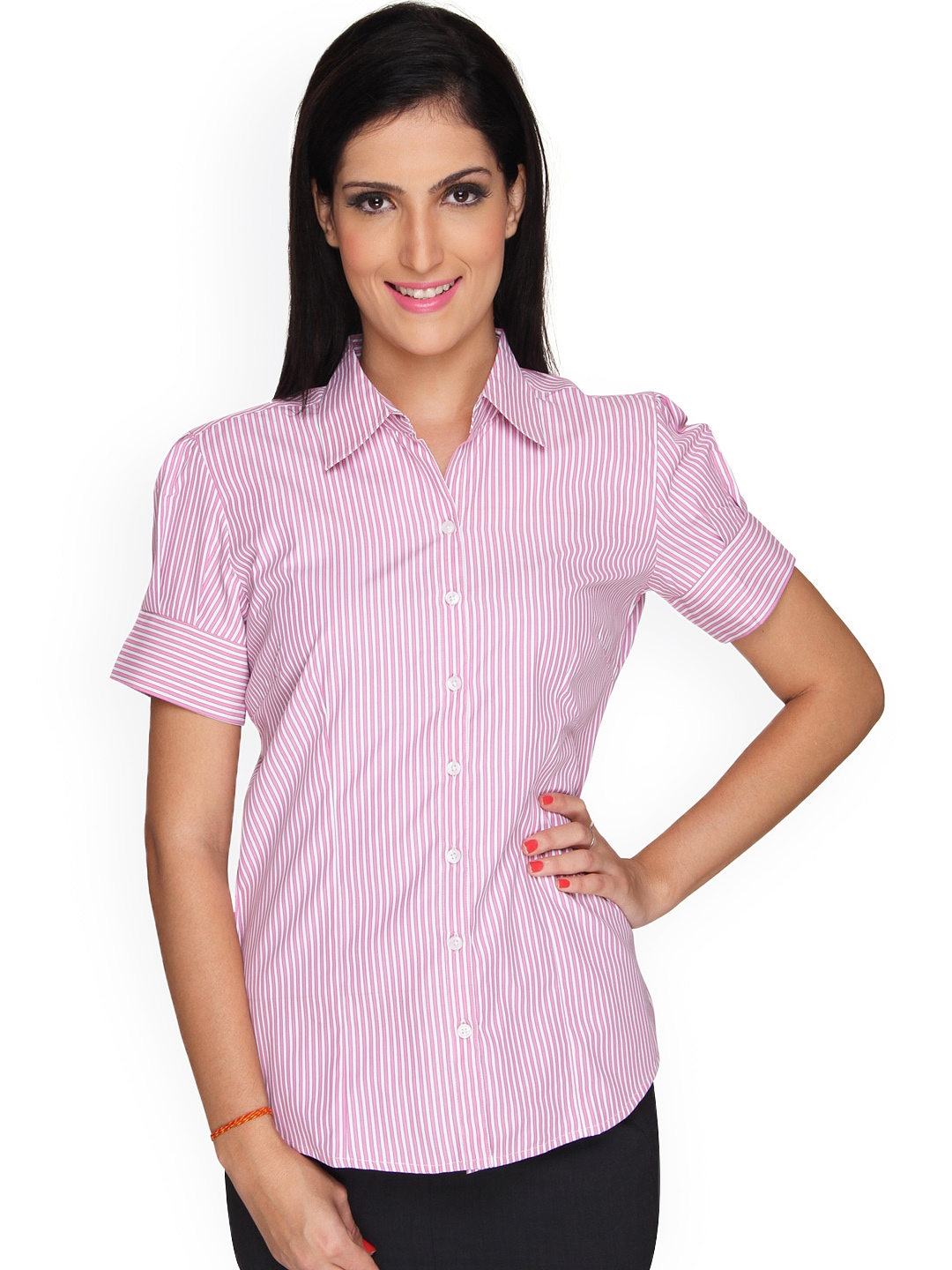 Myntra bombay high women white pink striped slim fit for Pink white striped shirt