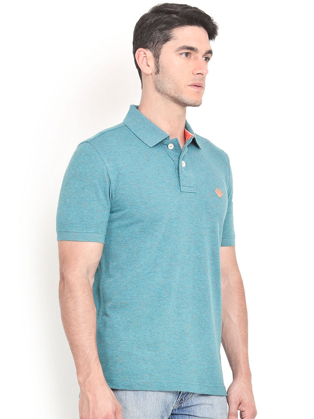 Myntra smokestack men teal blue custom fit polo t shirt for Mens teal polo shirt