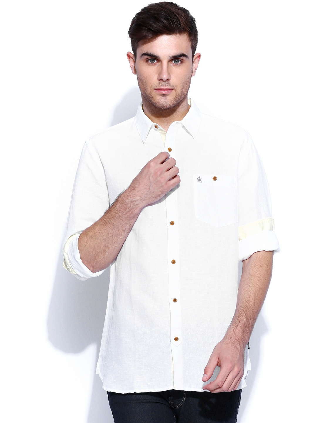 Myntra french connection white linen slim fit casual shirt for Slim fit white linen shirt