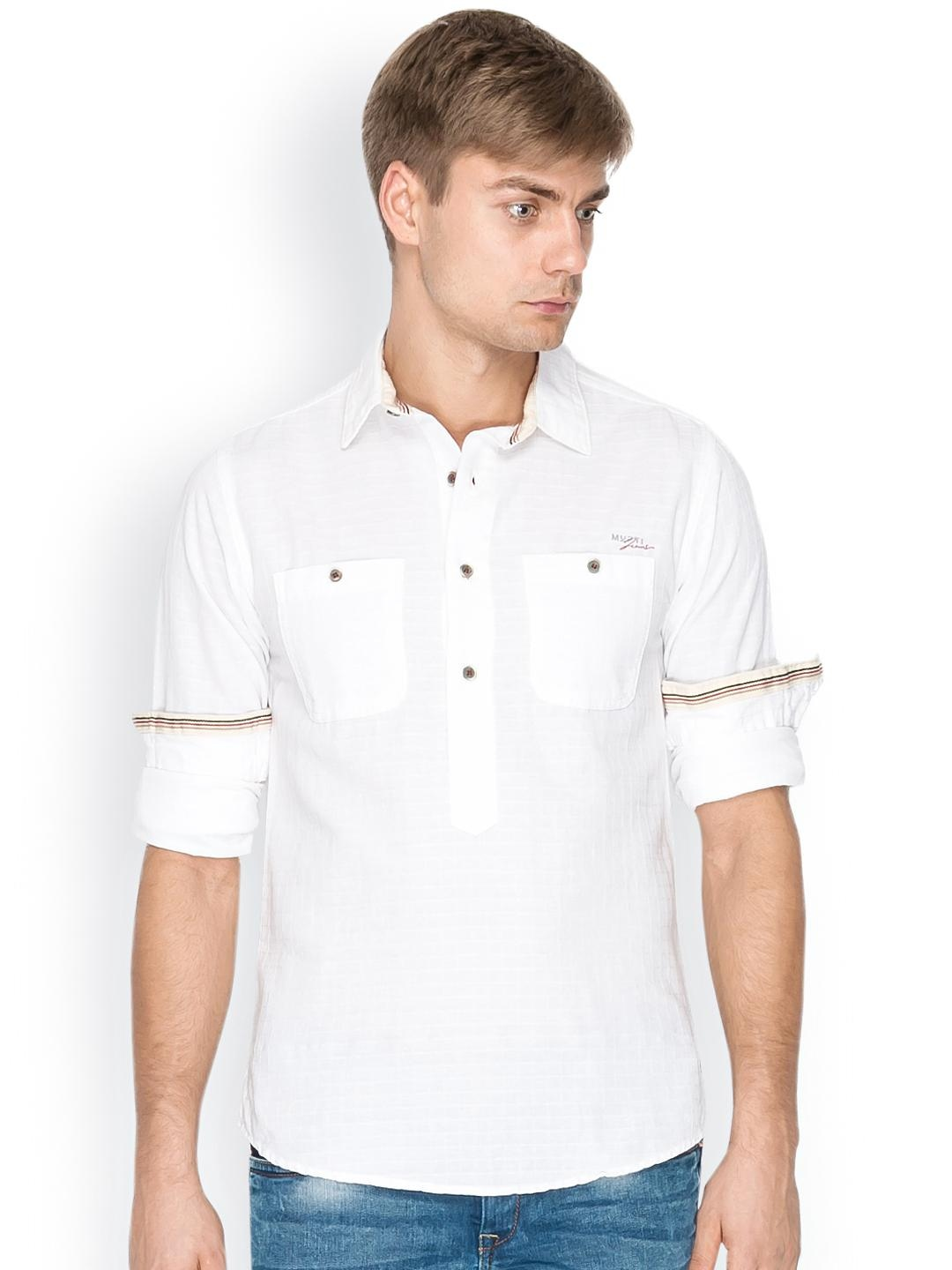 Myntra mufti men white casual shirt 800671 buy myntra for Shirts online shopping lowest price