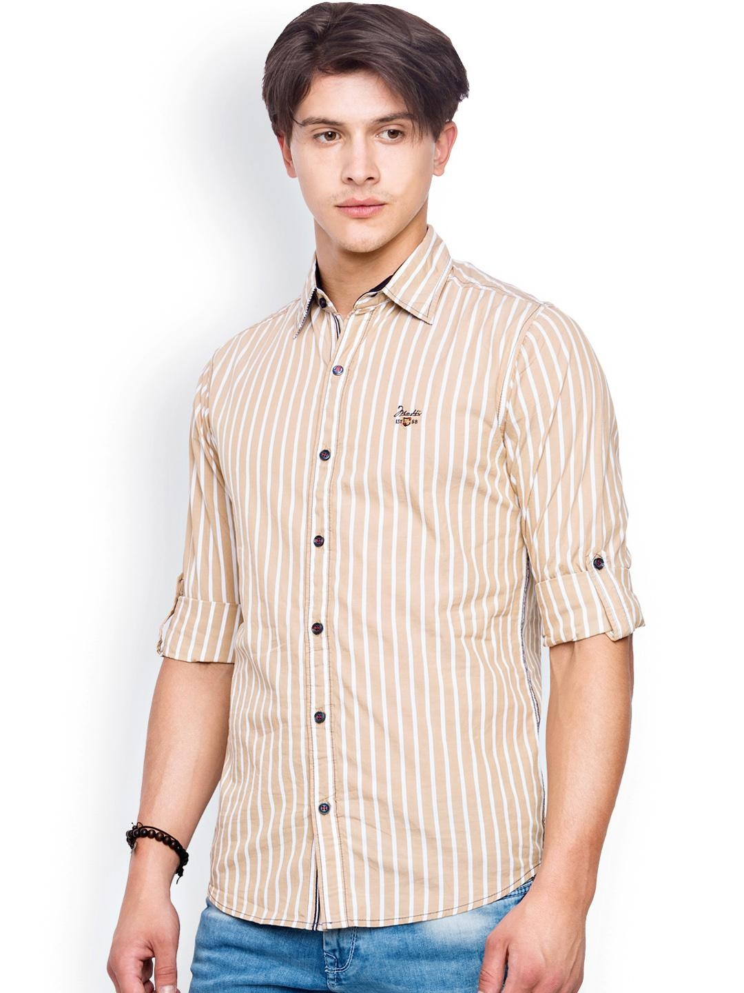 Myntra mufti men beige striped casual shirt 800807 buy for Where to buy casual dress shirts