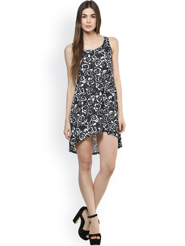 Myntra Tshirtcompany Black White Printed Shift Dress 801162 Buy Myntra Tshirtcompany Dresses
