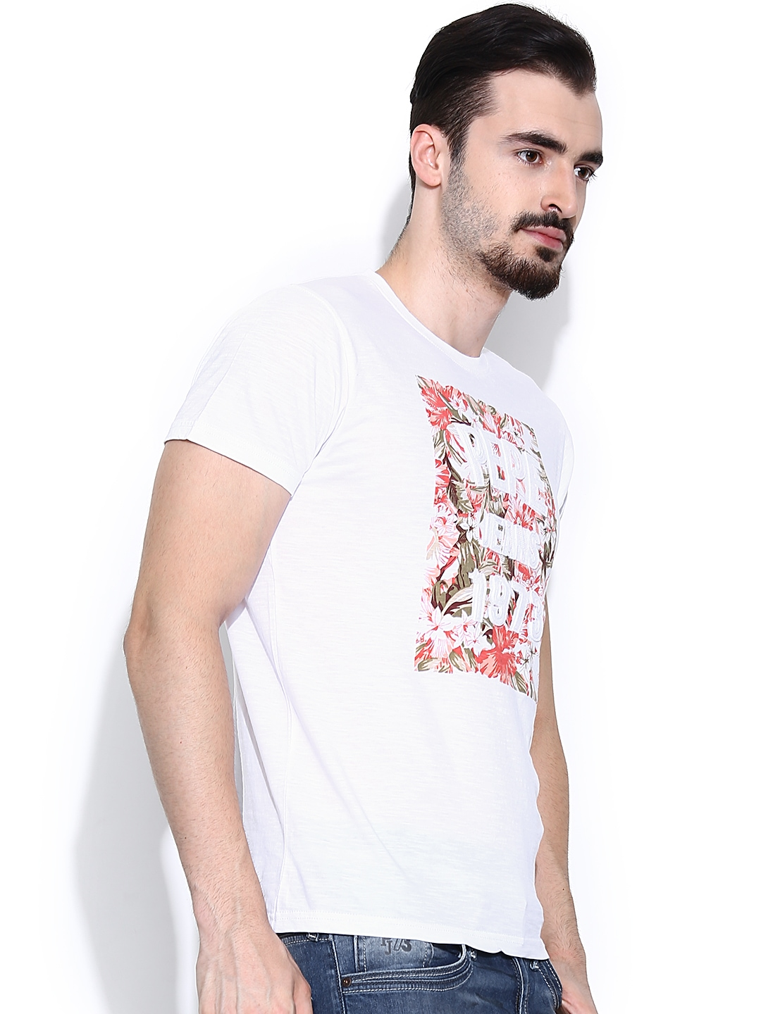 myntra pepe jeans white printed t shirt 801967 buy. Black Bedroom Furniture Sets. Home Design Ideas