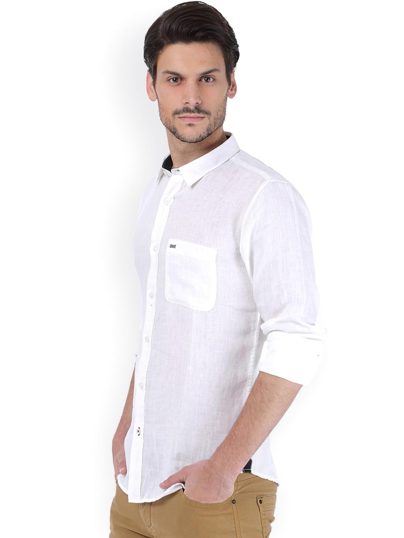 Myntra basics men white slim fit linen casual shirt 803311 for Slim fit white linen shirt