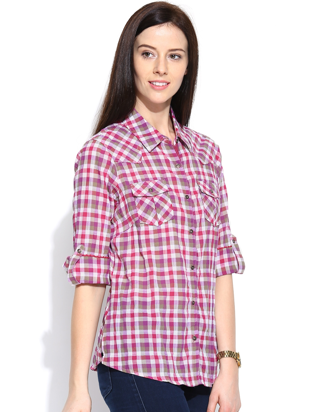 Myntra numero uno multicoloured checked casual shirt for Shirts online shopping lowest price
