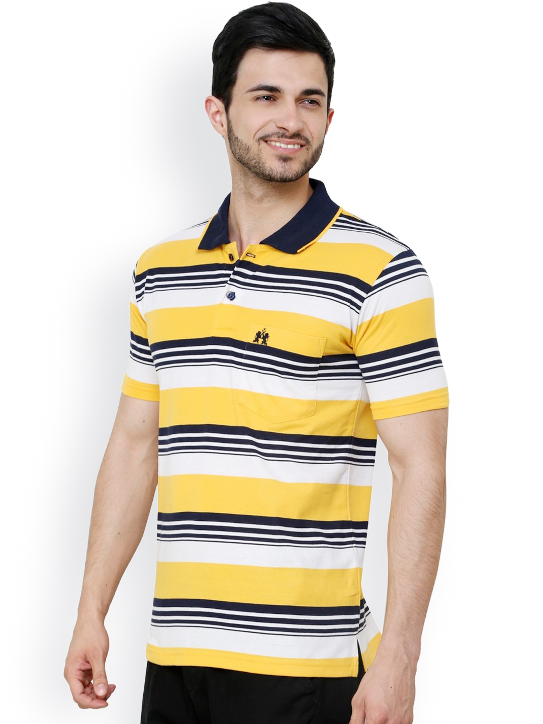 myntra cotton county premium men black yellow striped