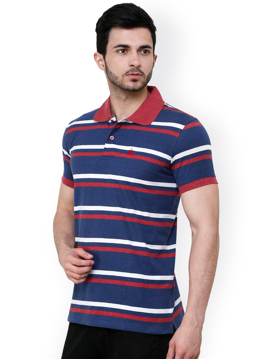Myntra cotton county premium men blue red striped slim for Red blue striped shirt