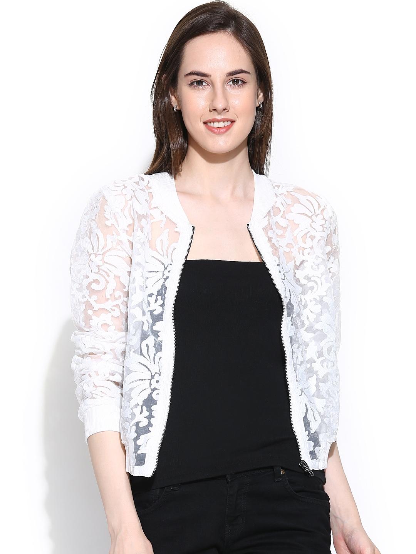 Myntra Vero Moda White Sheer Embroidered Jacket 810710