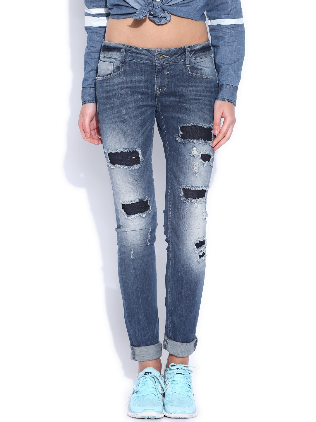 myntra vero moda blue slim fit low rise jeans 810727 buy myntra vero moda jeans at best price. Black Bedroom Furniture Sets. Home Design Ideas