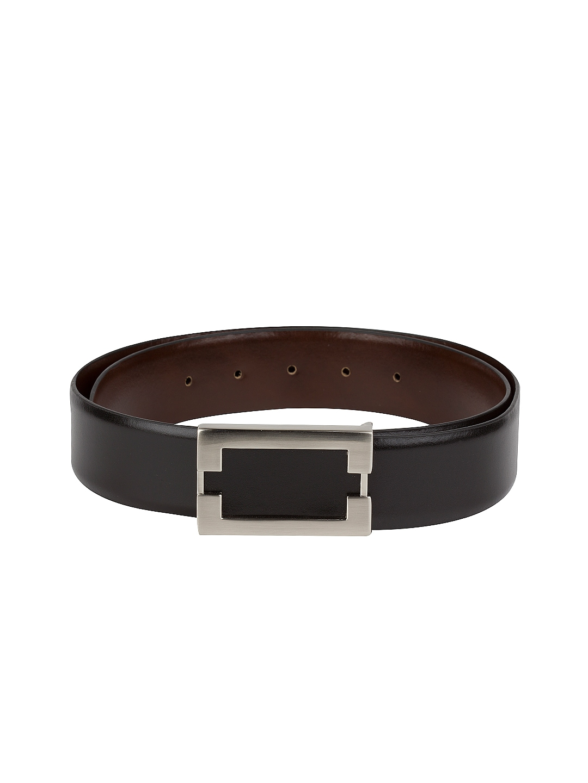 myntra gildermen black brown reversible leather belt