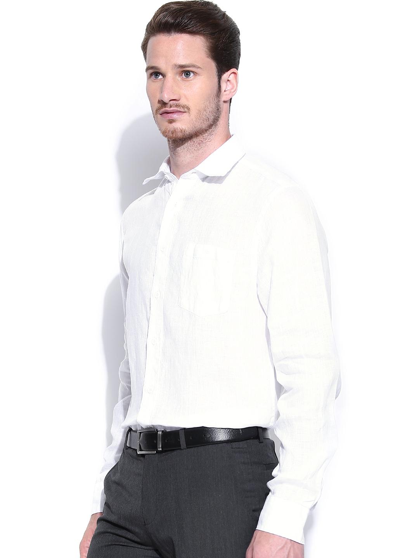 Myntra blackberrys white linen slim fit smart casual shirt for Slim fit white linen shirt