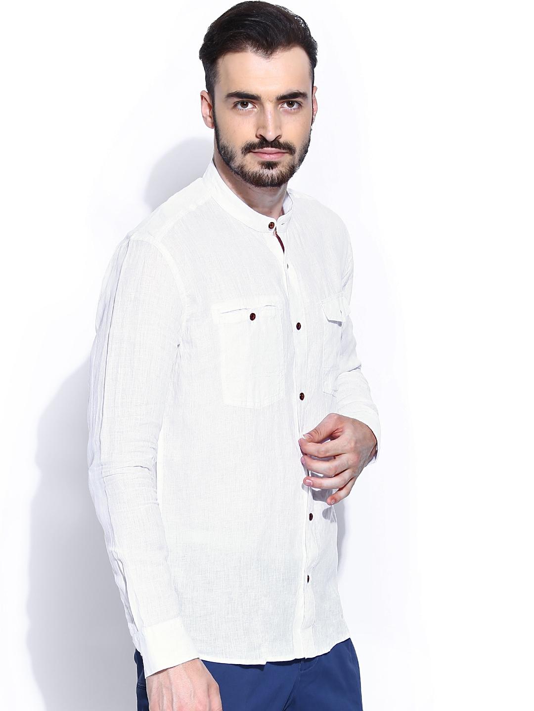 Myntra blackberrys off white linen slim fit casual shirt for Slim fit white linen shirt