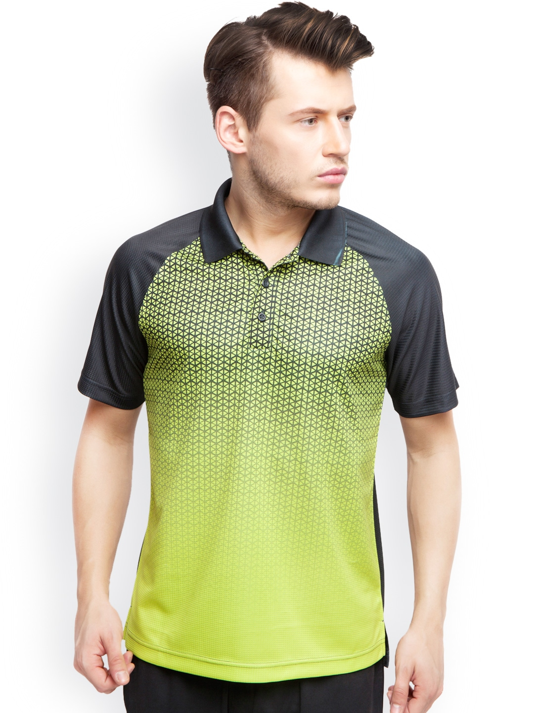 Myntra alcis men green black printed slim fit polo t for Black fitted polo shirt