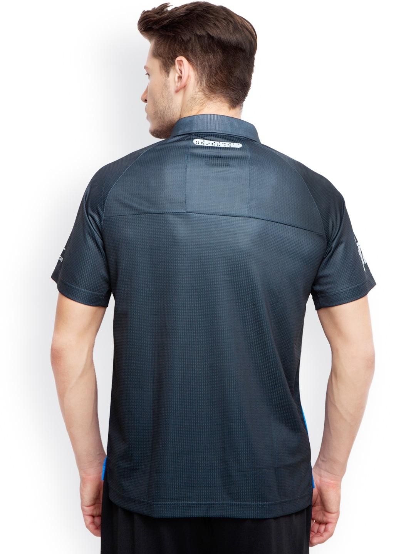 Myntra alcis men light blue navy printed slim fit polo t for Navy slim fit shirt