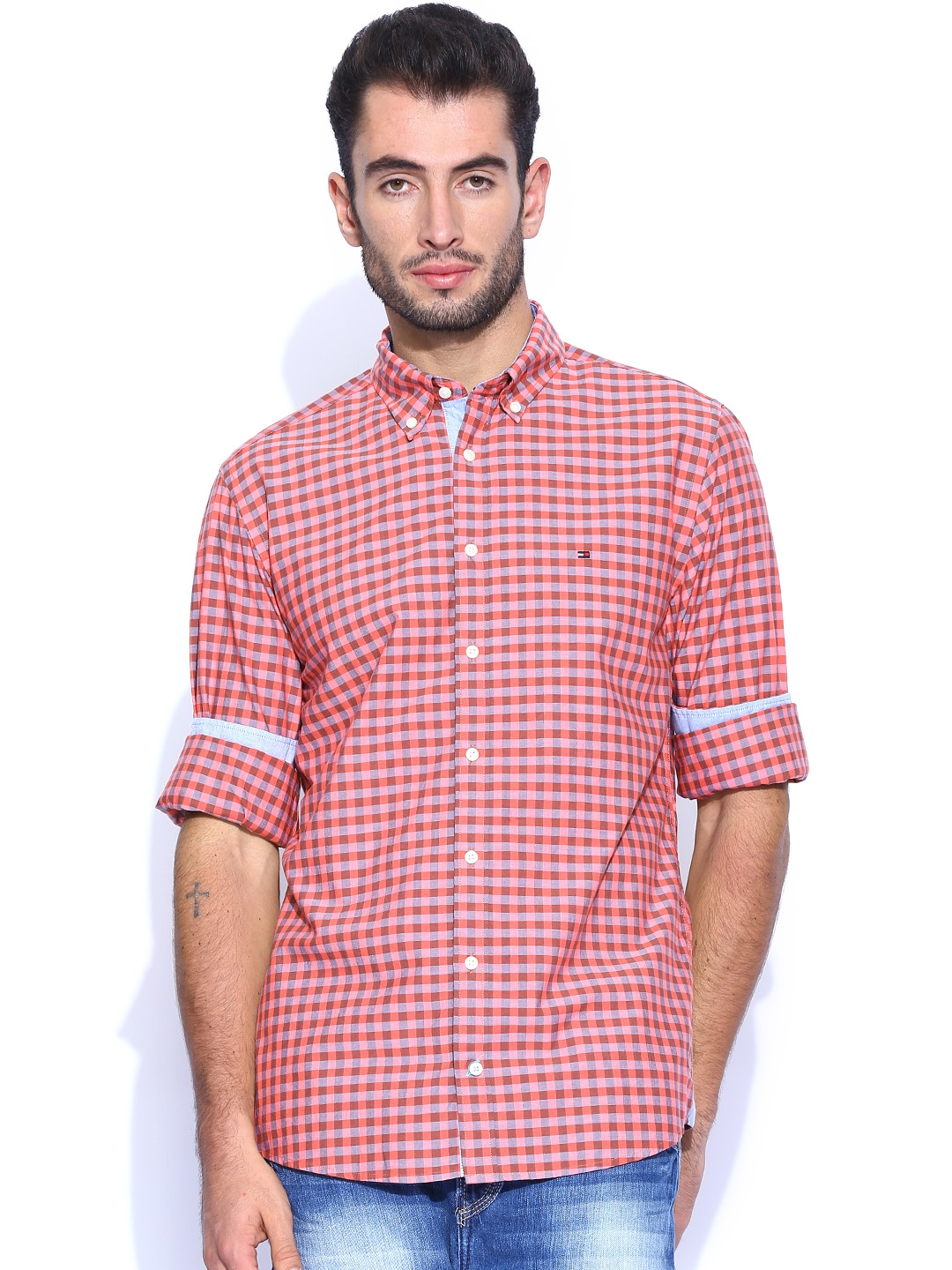 Myntra Tommy Hilfiger Coral Red Grey Checked New York