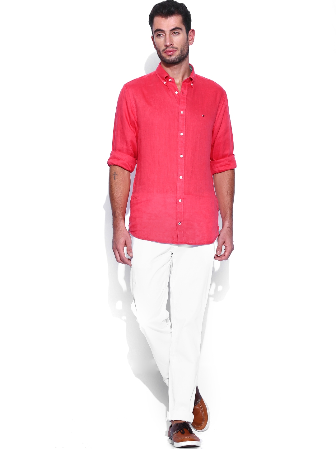 myntra tommy hilfiger white hudson straight fit chino. Black Bedroom Furniture Sets. Home Design Ideas