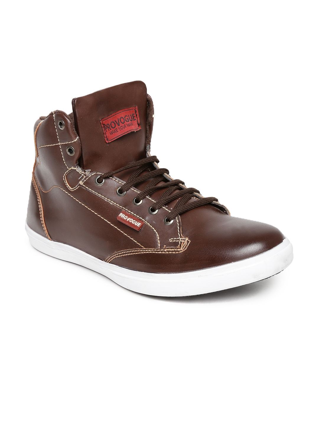 myntra provogue brown leather casual shoes 814743
