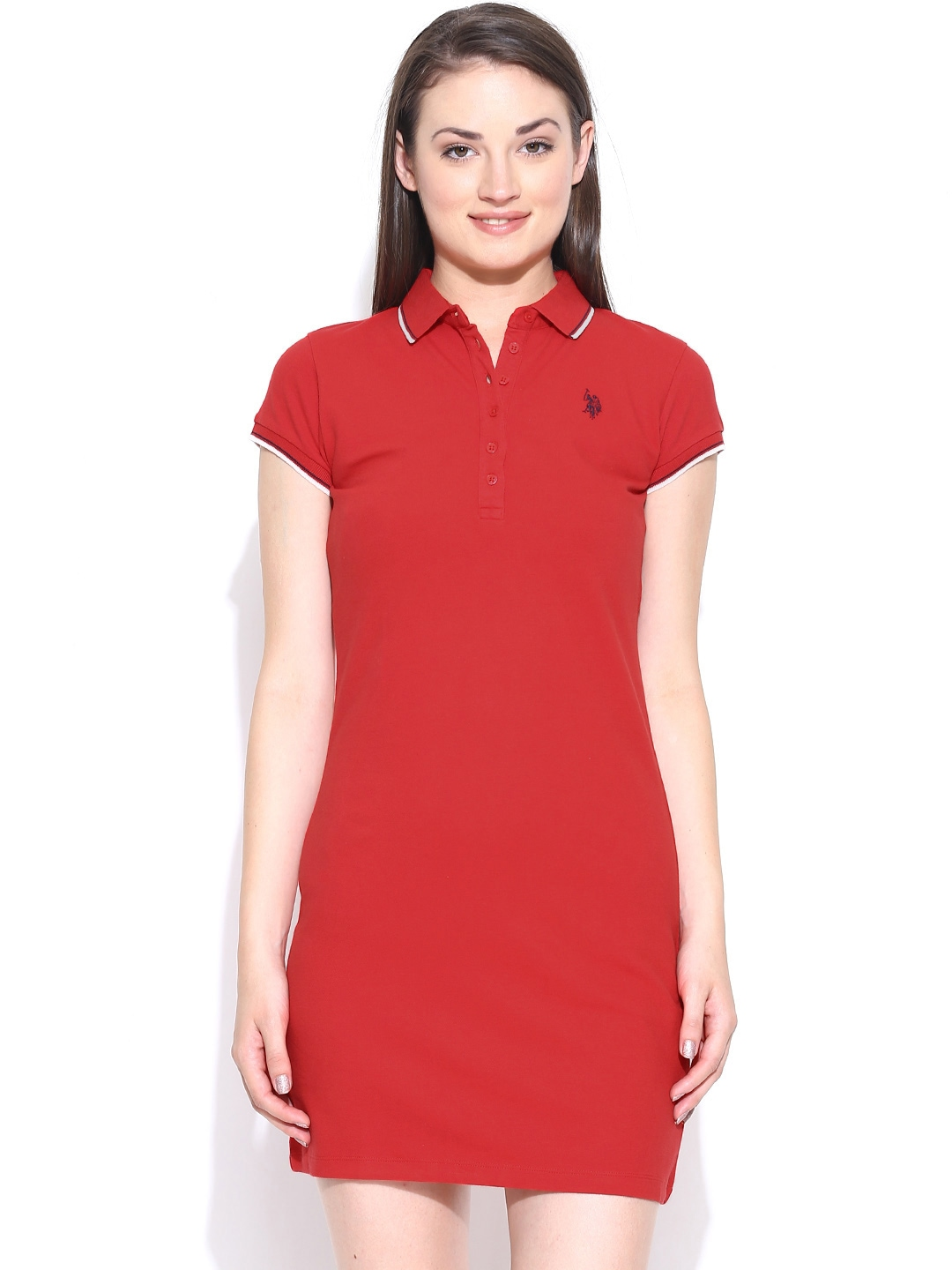 Myntra U.S. Polo Assn. Women Red T-shirt Dress 819301 ...