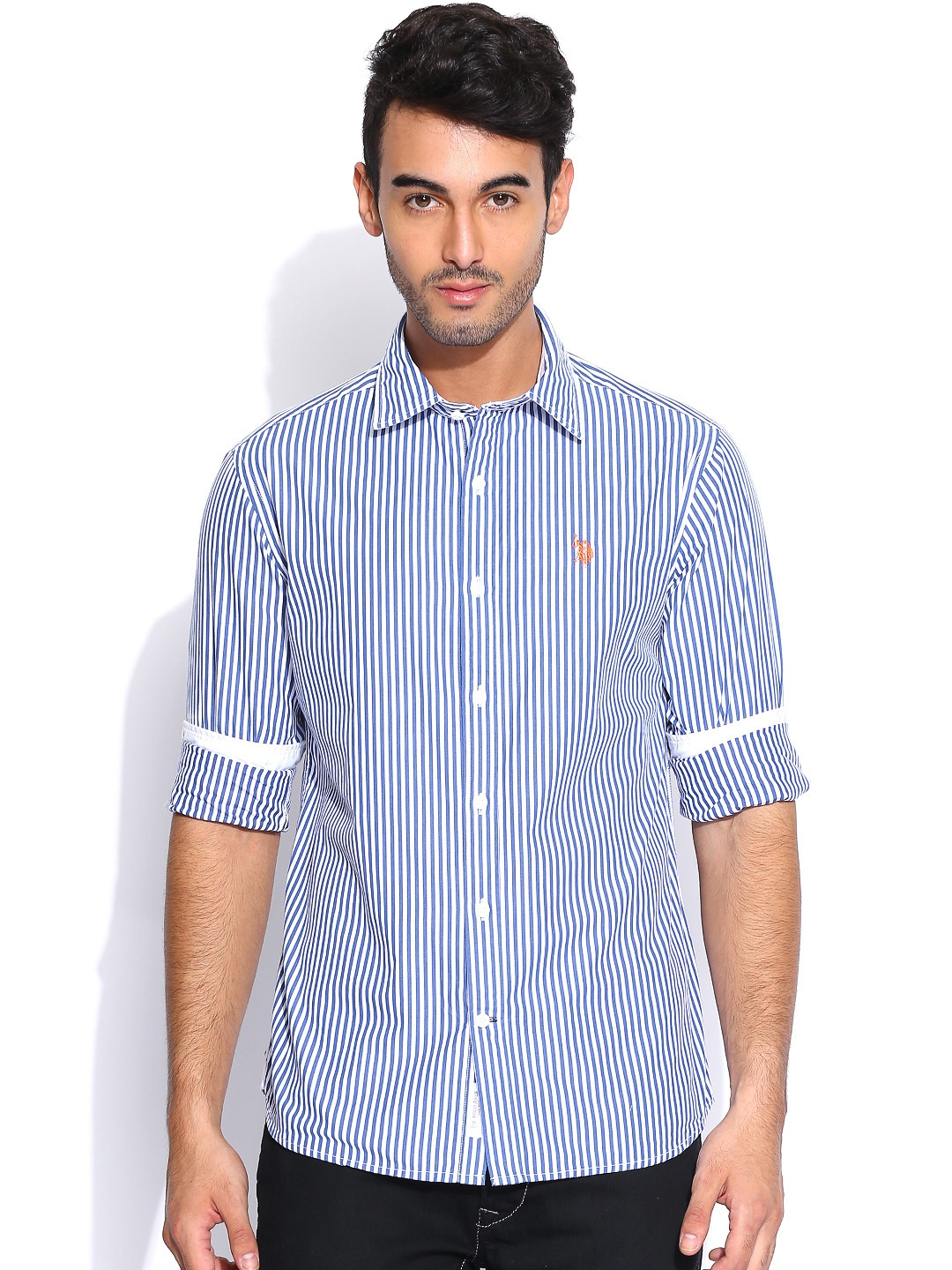 Myntra U S Polo Assn White Navy Striped Tailored Fit