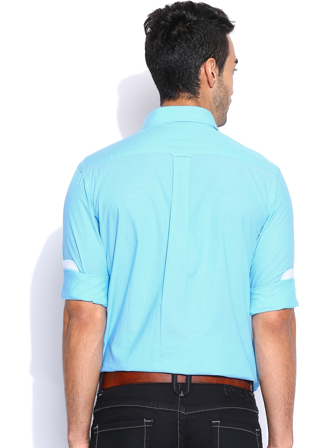 Myntra U S Polo Assn Light Blue Tailored Fit Casual