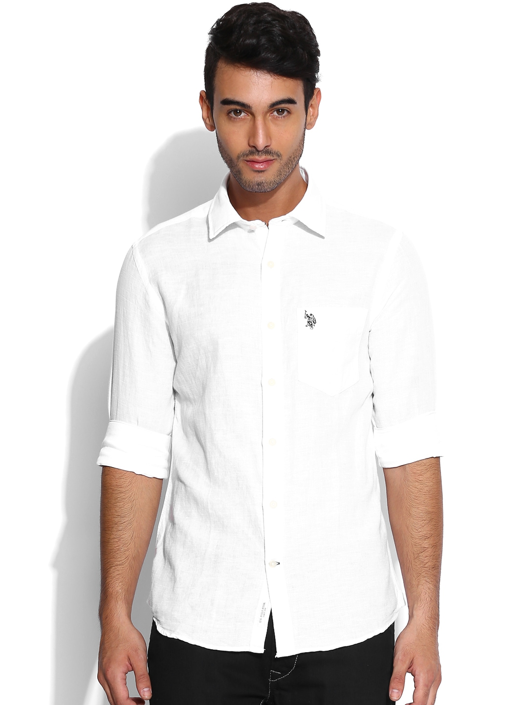 Myntra U S Polo Assn White Tailored Fit Linen Casual