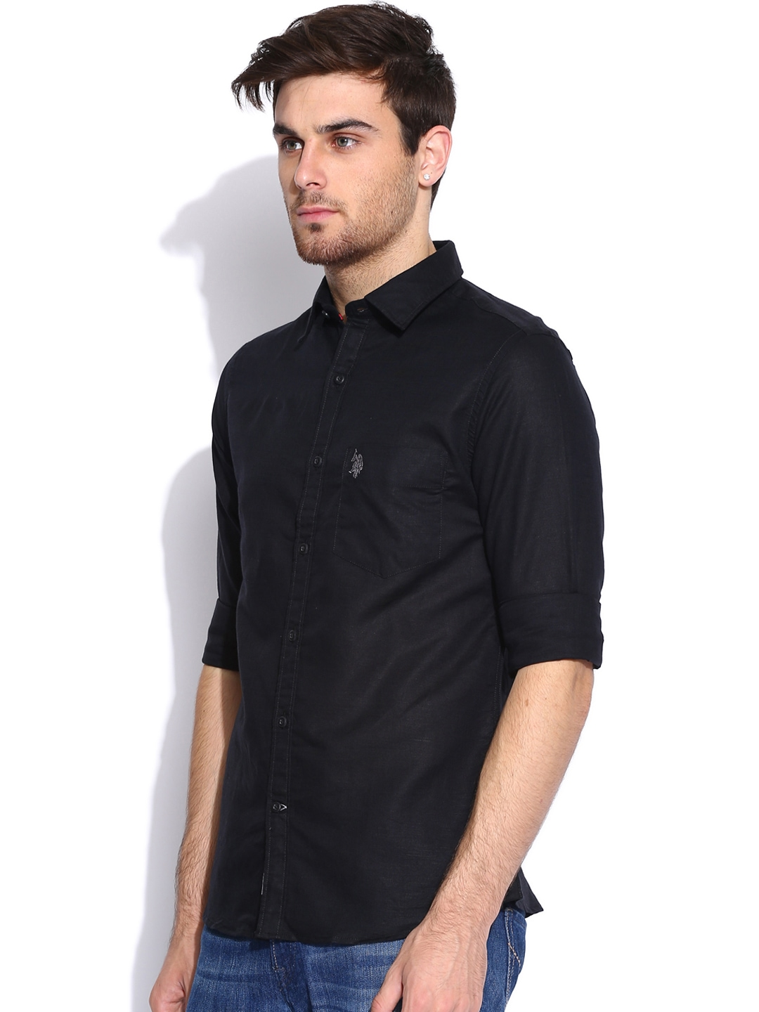 Myntra U S Polo Assn Black Tailored Fit Linen Casual