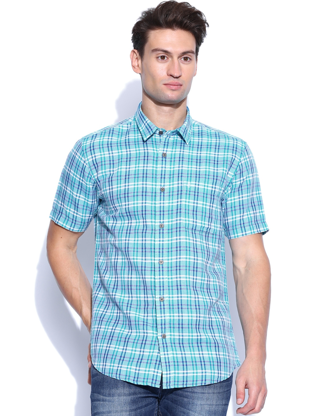 Myntra izod turquoise blue white checked slim fit linen for Slim fit white linen shirt