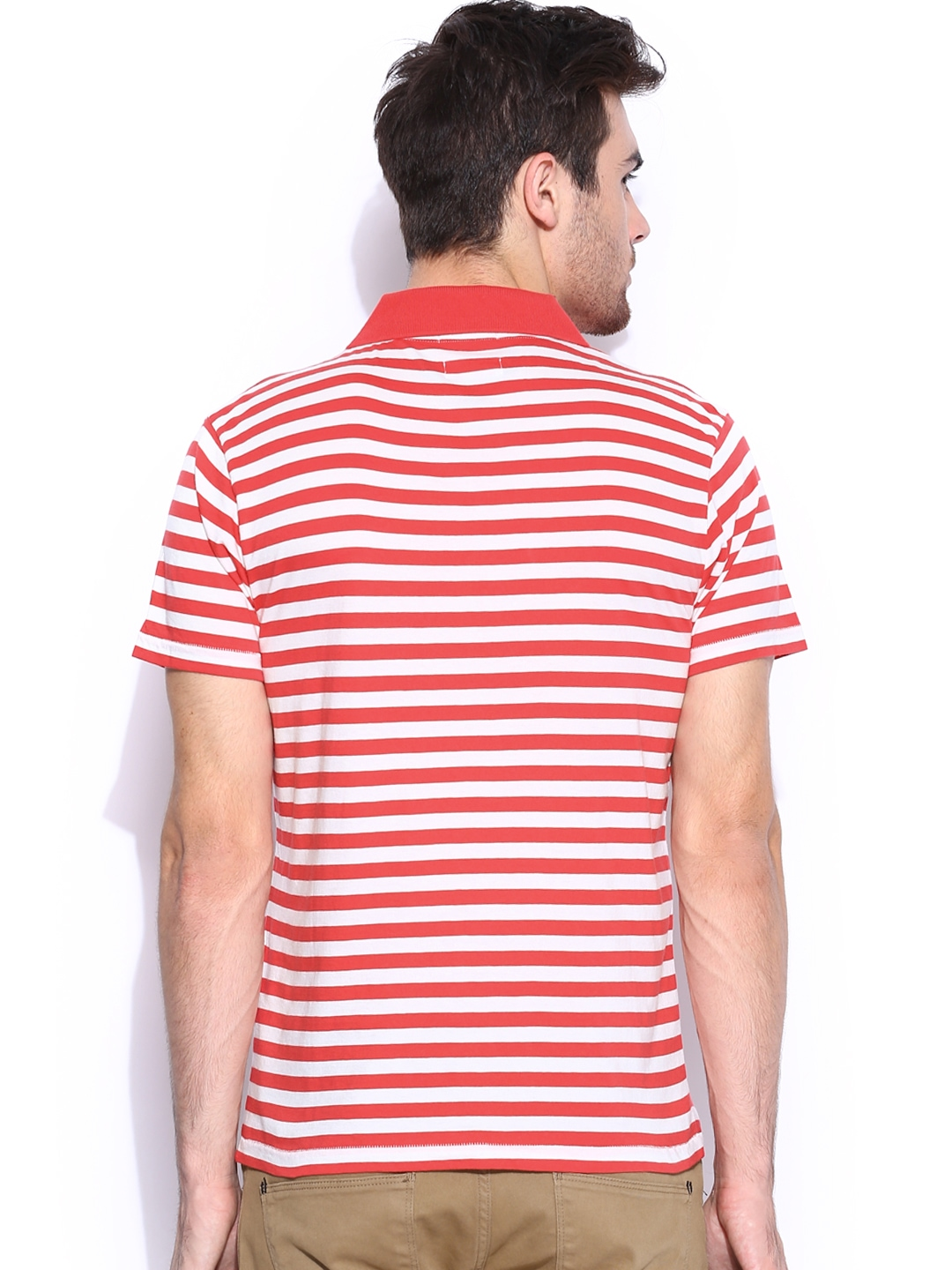 Myntra gant off white red striped polo t shirt 822069 for Red white striped polo shirt