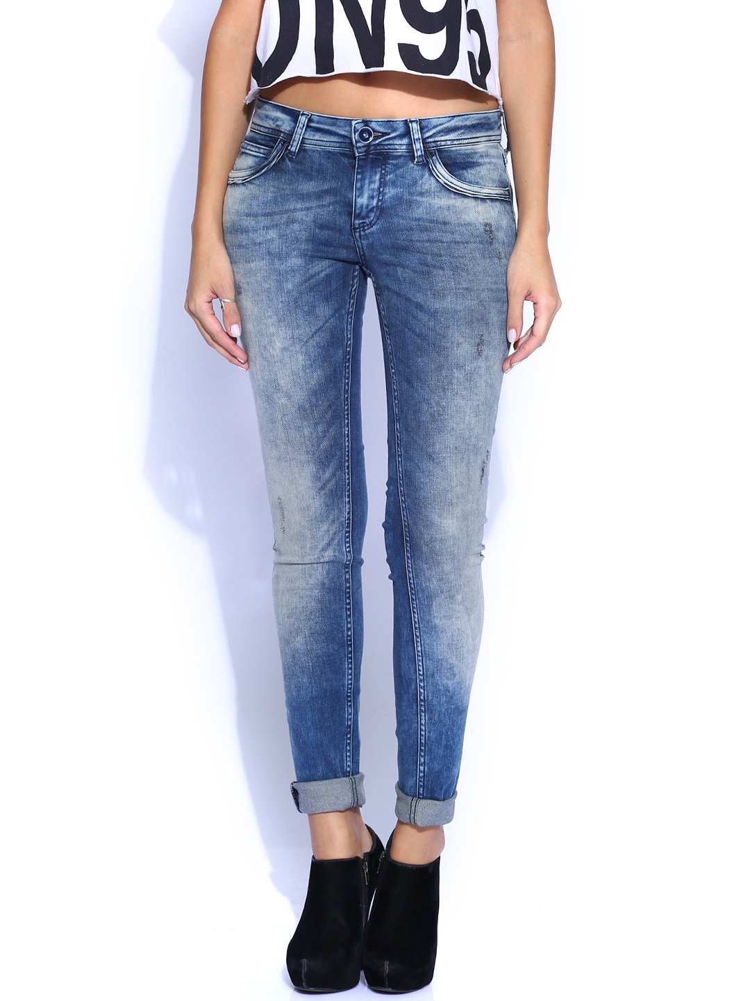 myntra vero moda blue slim fit jeans 822476 buy myntra vero moda jeans at best price online. Black Bedroom Furniture Sets. Home Design Ideas