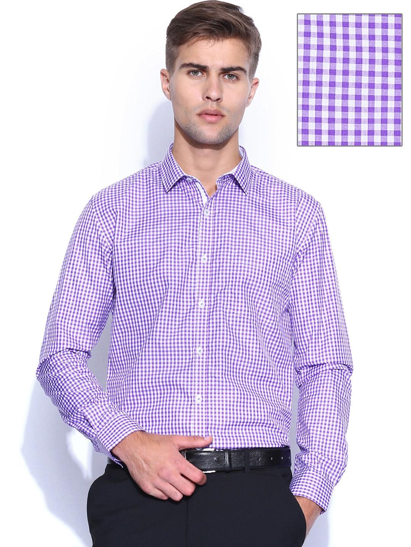 Myntra independence purple white checked slim fit formal for Purple and white checked shirt