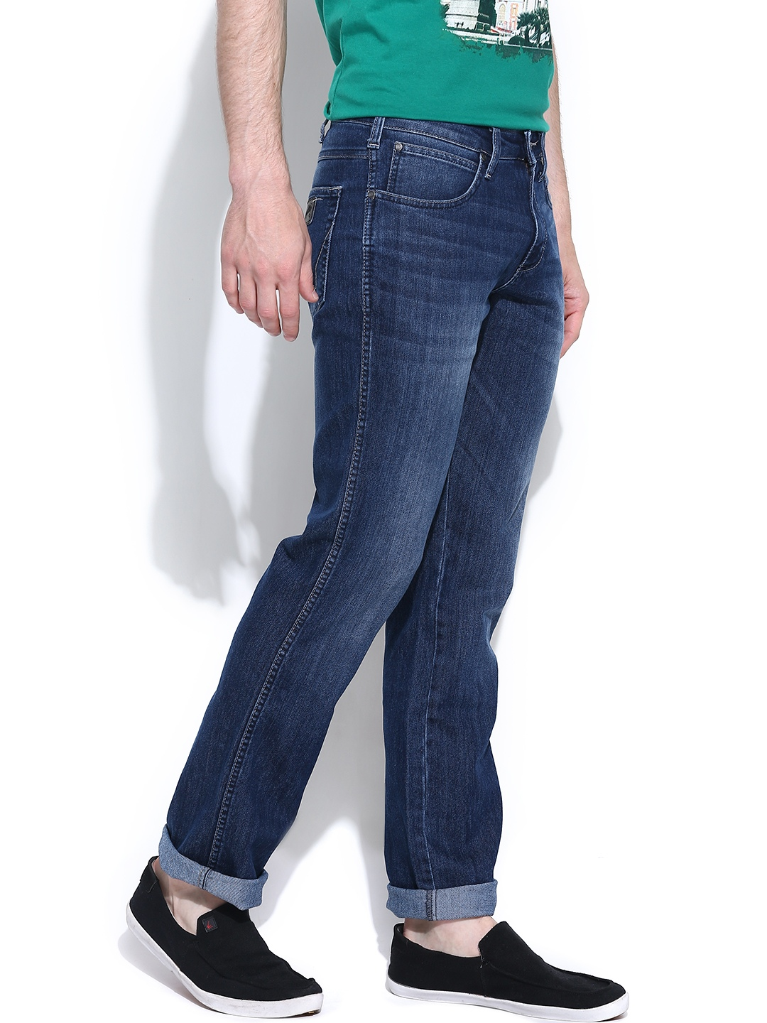 Washed Millard Straight Fit Jeans 826754 | Buy Myntra Wrangler Jeans ...
