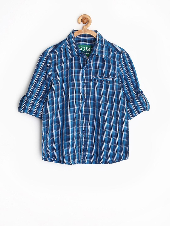 Myntra slub juniors boys blue checked shirt 827077 buy for Shirts online shopping lowest price
