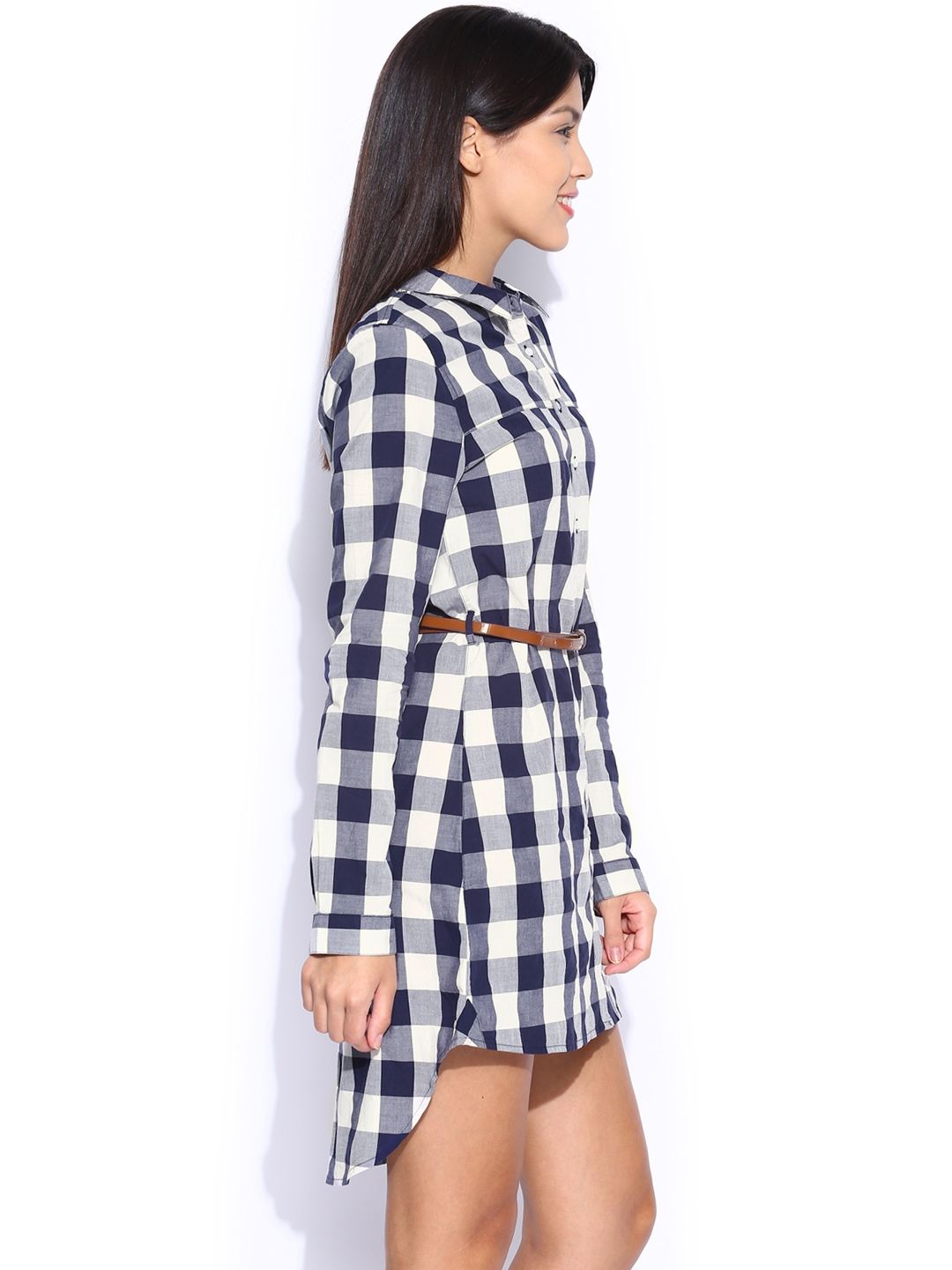 Myntra voi jeans off white navy checked shirt dress for Buy white dress shirt
