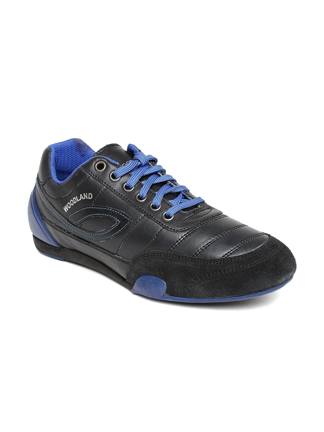 myntra woodland black leather casual shoes 829088