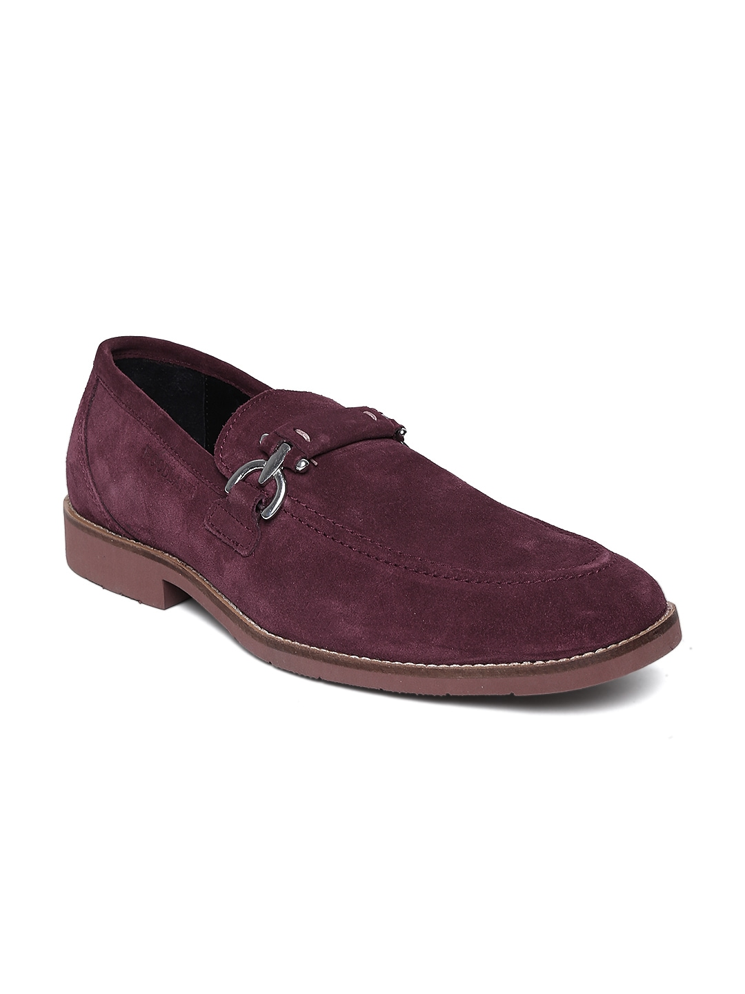 myntra woodland burgundy suede casual shoes 829091