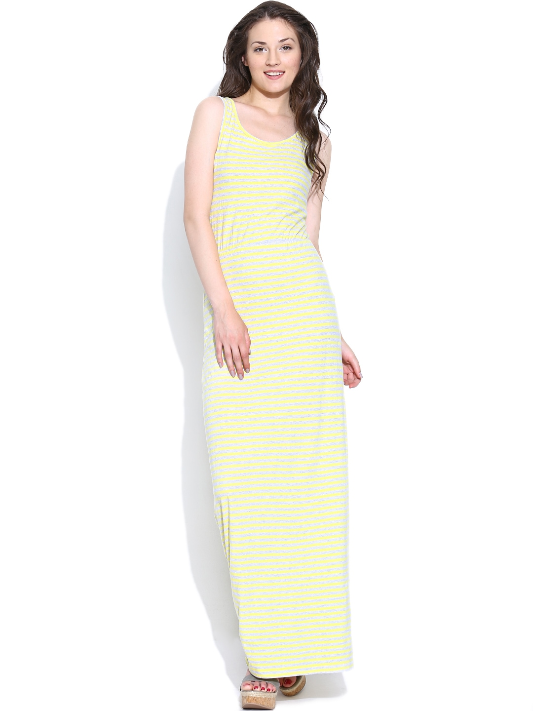 Myntra Sbuys Chartreuse Yellow & Grey Melange Striped Maxi ...