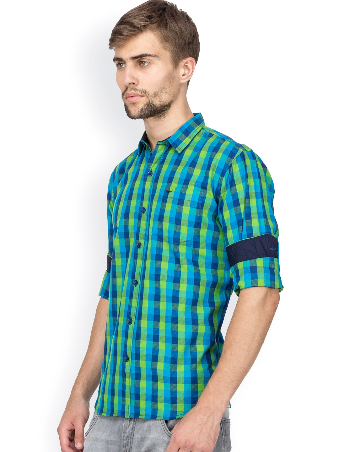 Myntra le bison green blue checked tailored fit casual for Tailor dress shirt cost