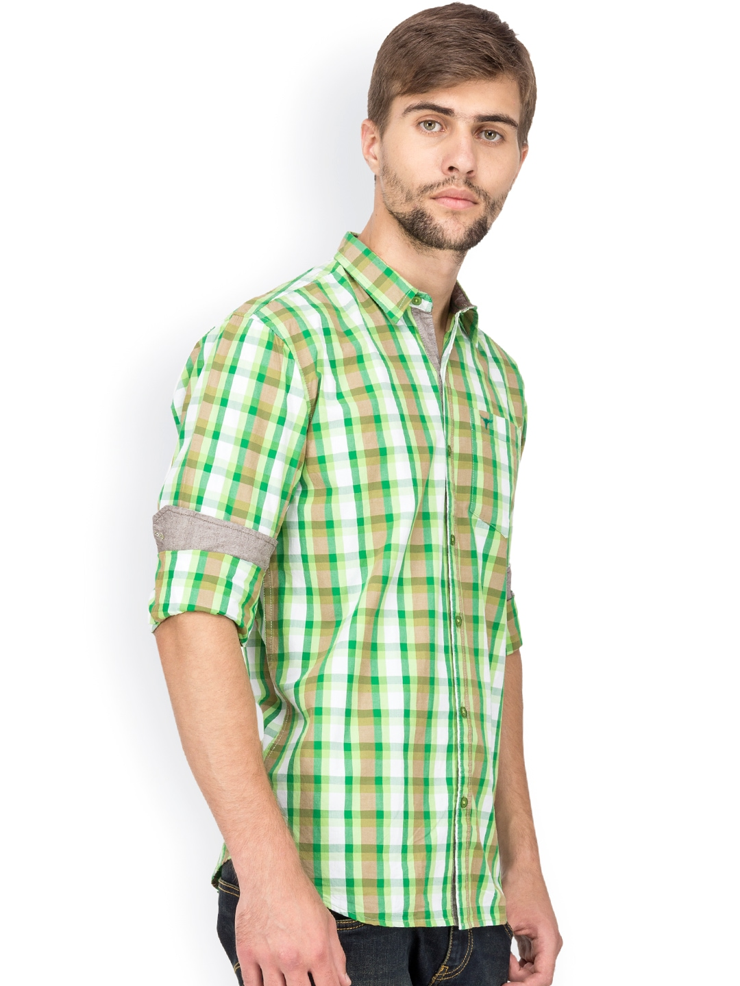 Myntra le bison green white checked tailored fit casual for Tailor dress shirt cost