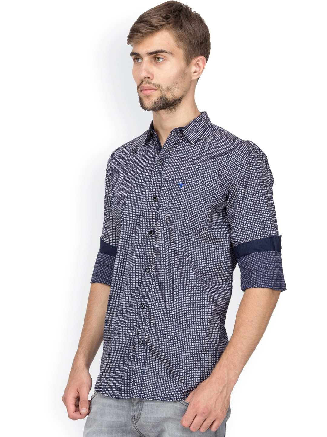 Myntra Le Bison Navy Printed Tailored Fit Casual Shirt