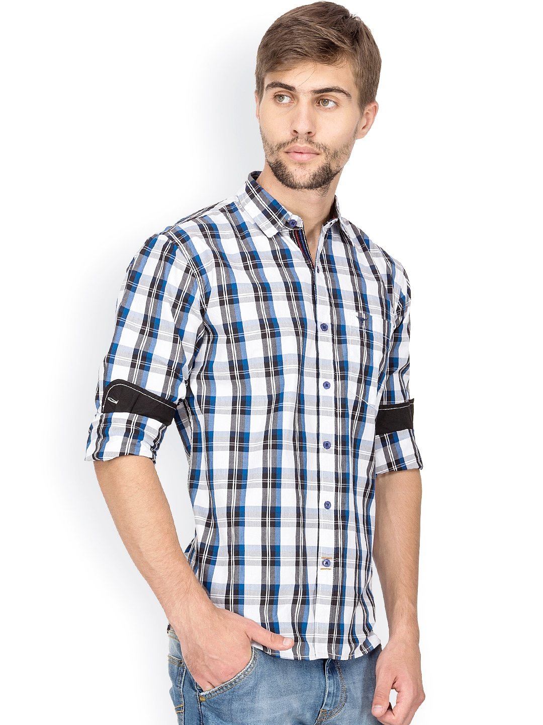 Myntra le bison white black checked tailored fit casual for Tailor dress shirt cost