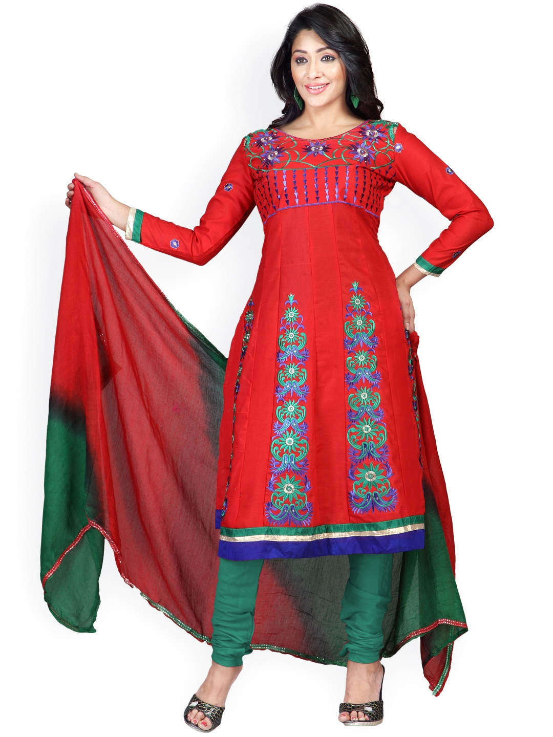 Myntra florence red green embroidered anarkali chanderi