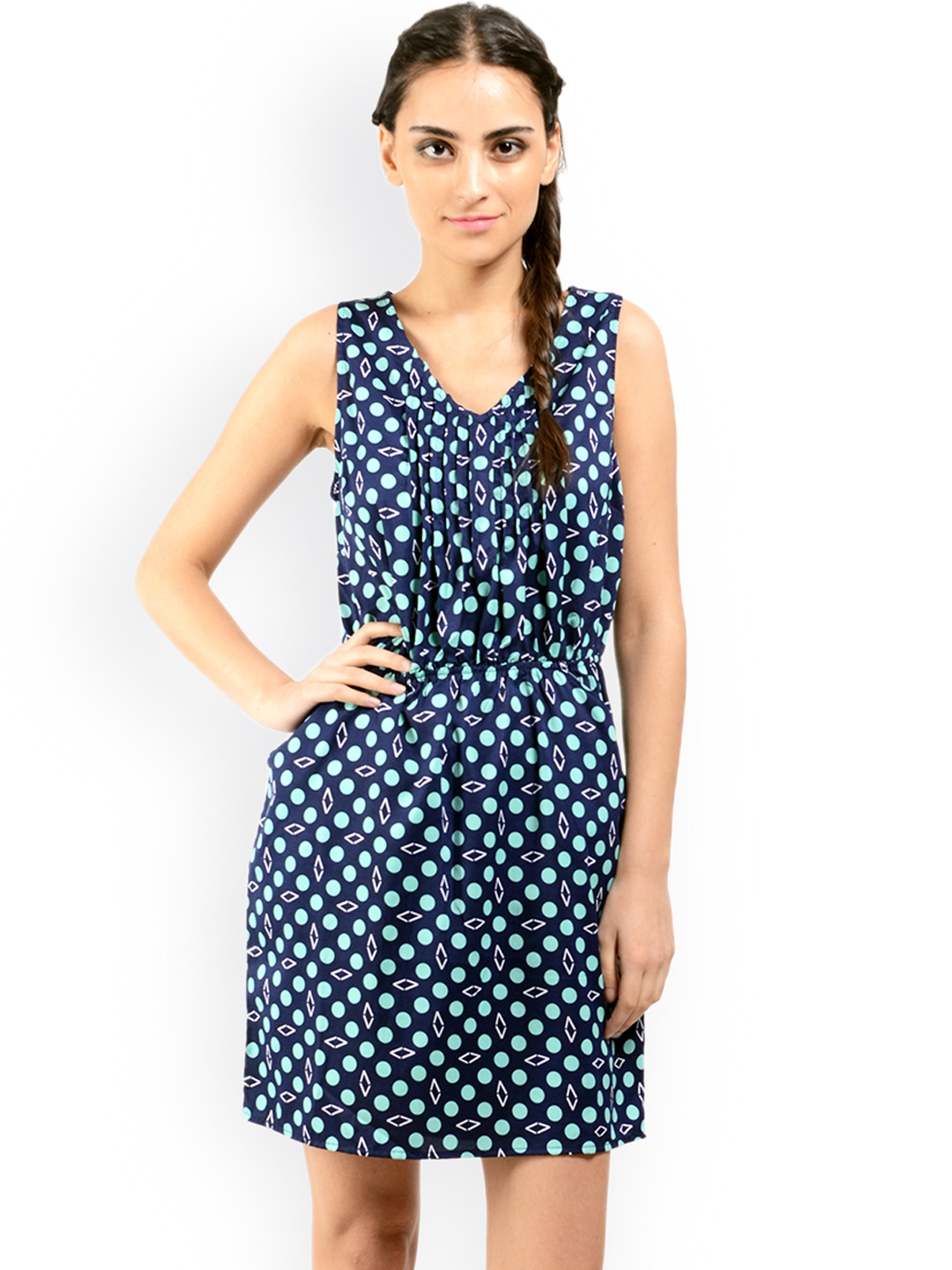 myntra oranje clothing navy printed fit flare dress