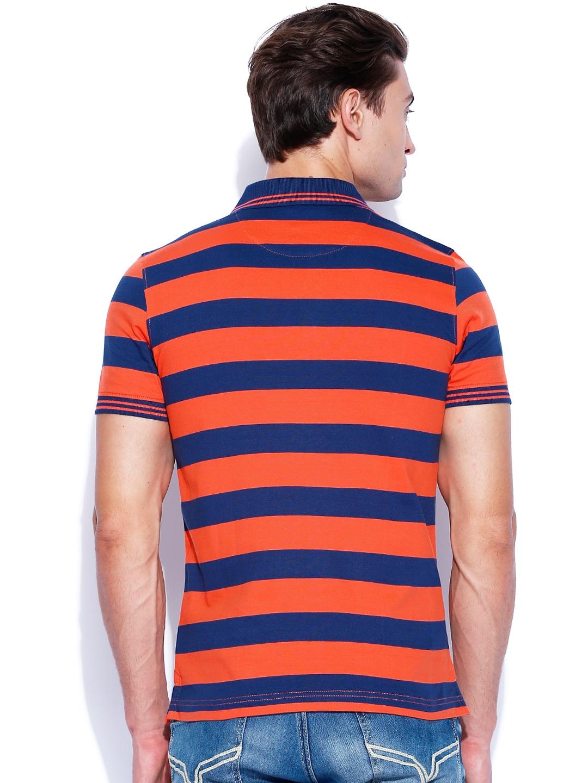 Myntra izod orange blue striped polo t shirt 843274 for Best striped t shirt