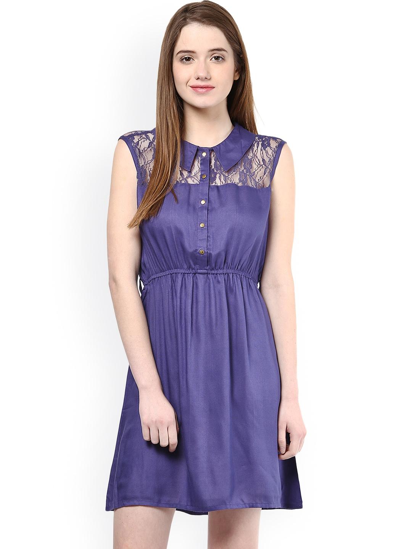 myntra la rochelle blue a line dress 846062 buy myntra. Black Bedroom Furniture Sets. Home Design Ideas