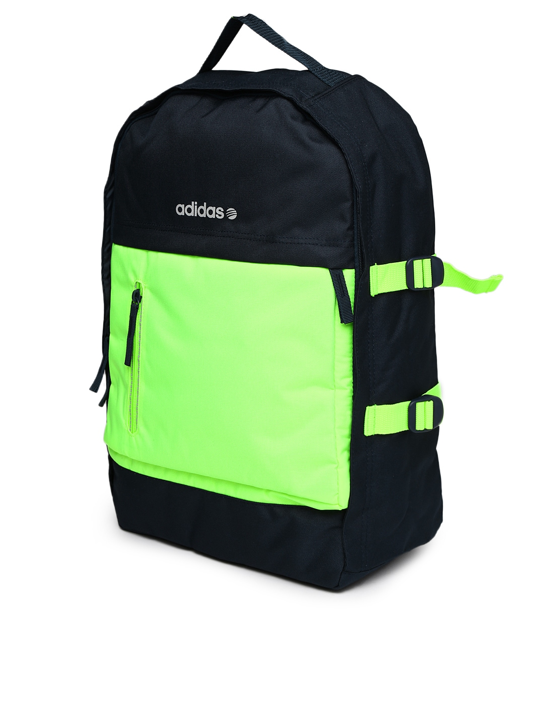 myntra adidas neo men navy fluorescent green backpack. Black Bedroom Furniture Sets. Home Design Ideas