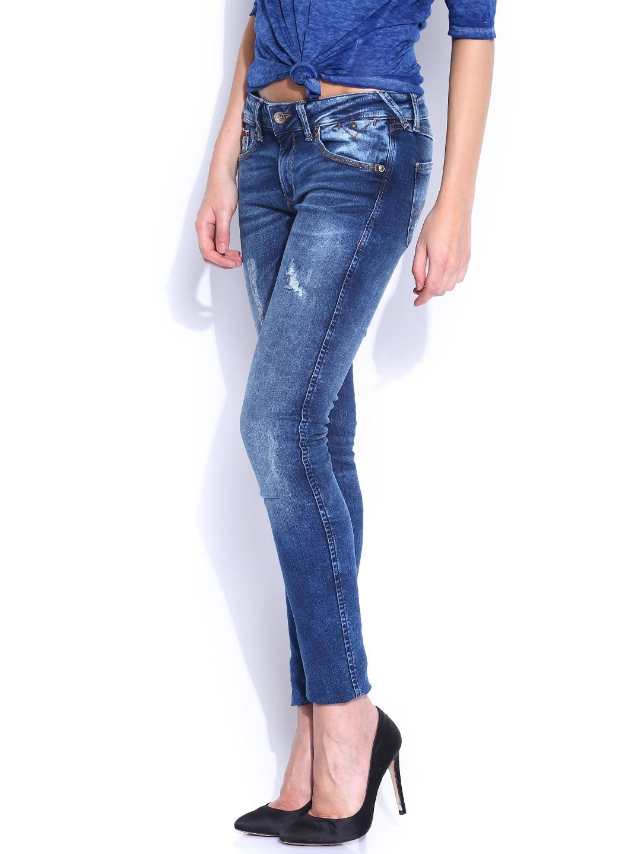 myntra tommy hilfiger blue sophie skinny fit jeans 847008. Black Bedroom Furniture Sets. Home Design Ideas