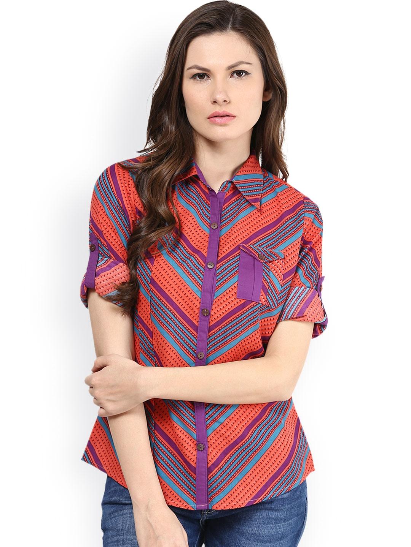 Myntra shakumbhari red blue printed shirt 849178 buy for Shirts online shopping lowest price